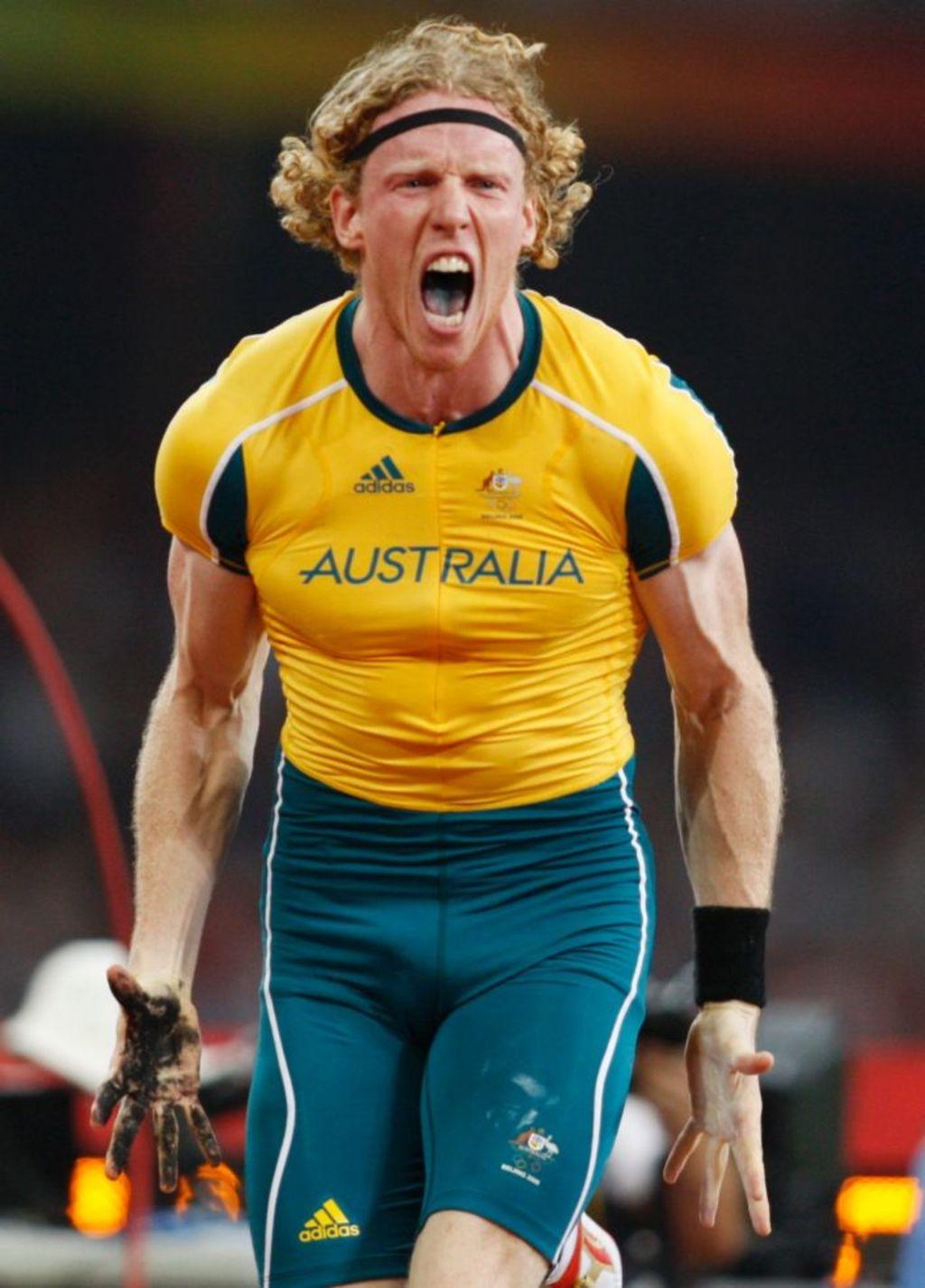 Steve Hooker, moments after winning gold in the 2008 Beijing Olympics. Photo: Greg Baker