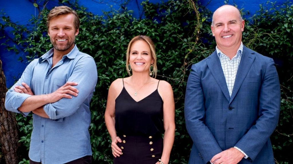 Marshal Keen, Shaynna Blaze and Rich Harvey from Channel Nine's new series, Buying Blind. Photo: Graeme Taylor