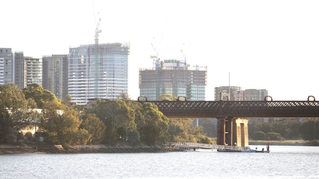Residential construction projects line the shores adjacent to the Parramatta River at Ryde, one of the areas of Sydney seeing substantial construction activity. Photo: James Alcock
