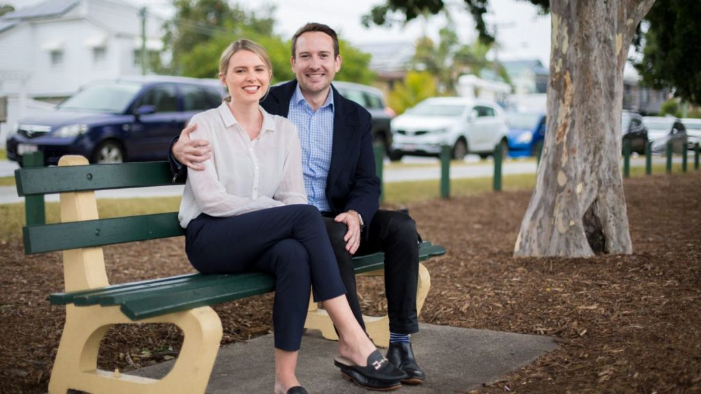 First-home buyers Amy Argyros and Richie Yates are close to having a 20 per cent deposit for a Brisbane house but have been saving for nearly three years. Photo: Tammy Law