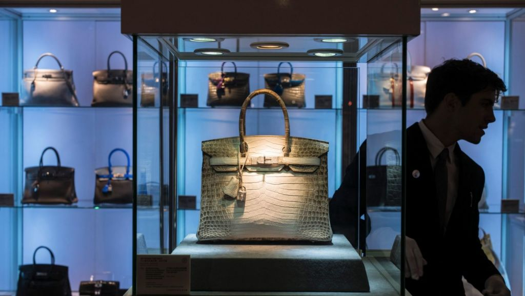 This Hermes Birkin fetched a record price at Christie's when it sold at auction in 2016. Photo: The New York Times
