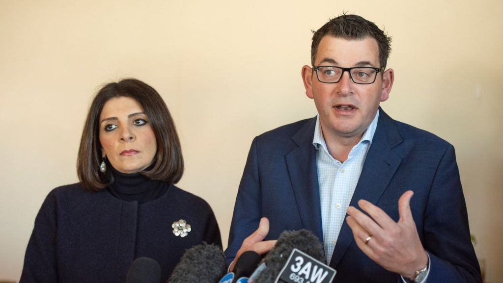 Premier Daniel Andrews and Consumer Affairs minister Marlene Kairouz were out spruiking rental reforms at the weekend. Photo: AAP