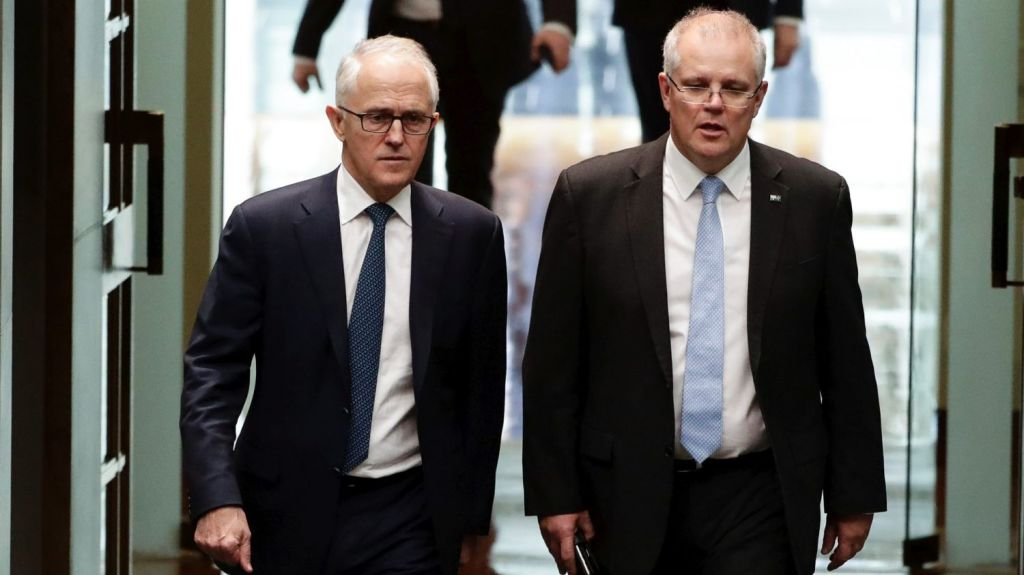Malcolm Turnbull and Scott Morrison arrive in Parliament on Thursday Photo: Alex Ellinghausen
