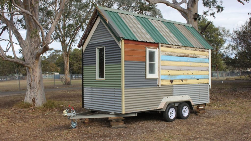 A tiny house, built from recycled and reclaimed materials as part of the Tiny House building course run in May. Photo: The Bower