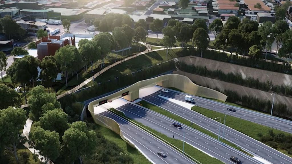 Artists impression of the new WestConnex M5 at St Peters. Photo: NSW Government