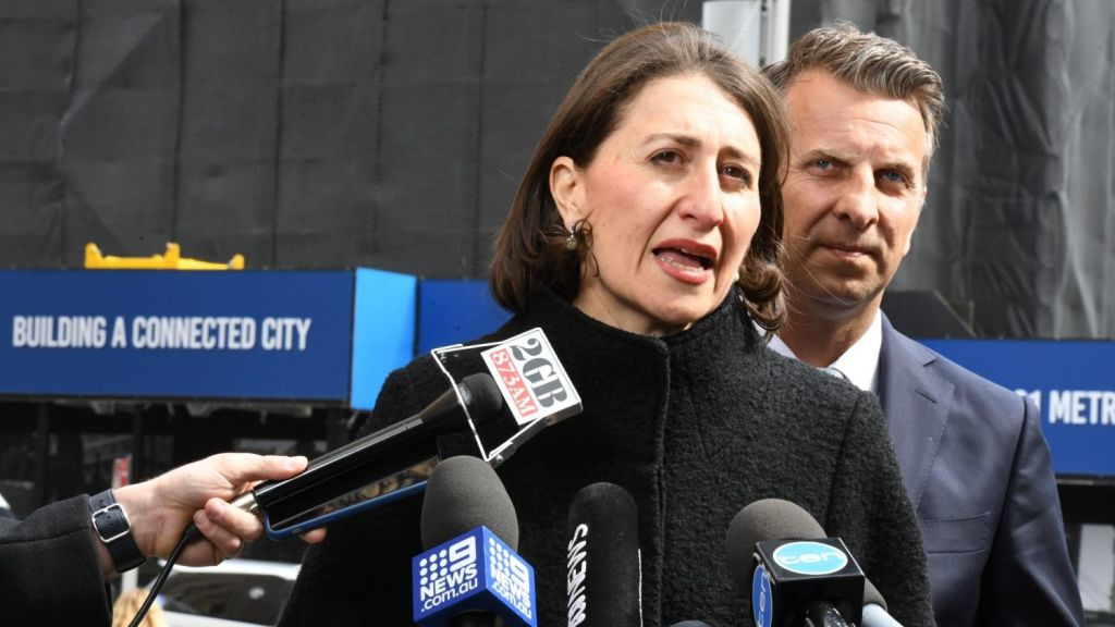 Premier Gladys Berejiklian and Minister for Transport and Infrastructure Andrew Constance. Photo: Peter Rae SMH