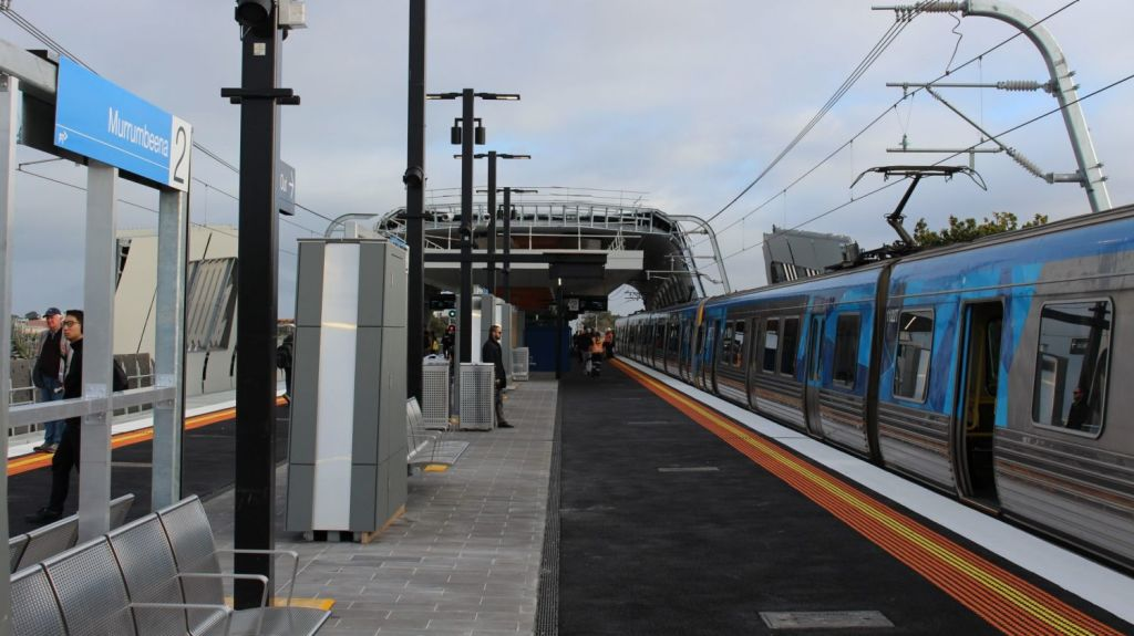 The new elevated Murrumbeena station is part of the sky rail. It opened in June. Photo: Daniel Bowen
