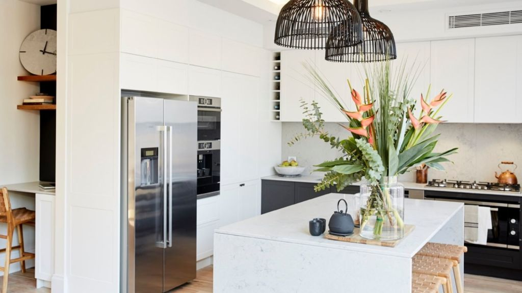Josh and Elyse's kitchen from The Block 2017. Photo: Channel Nine