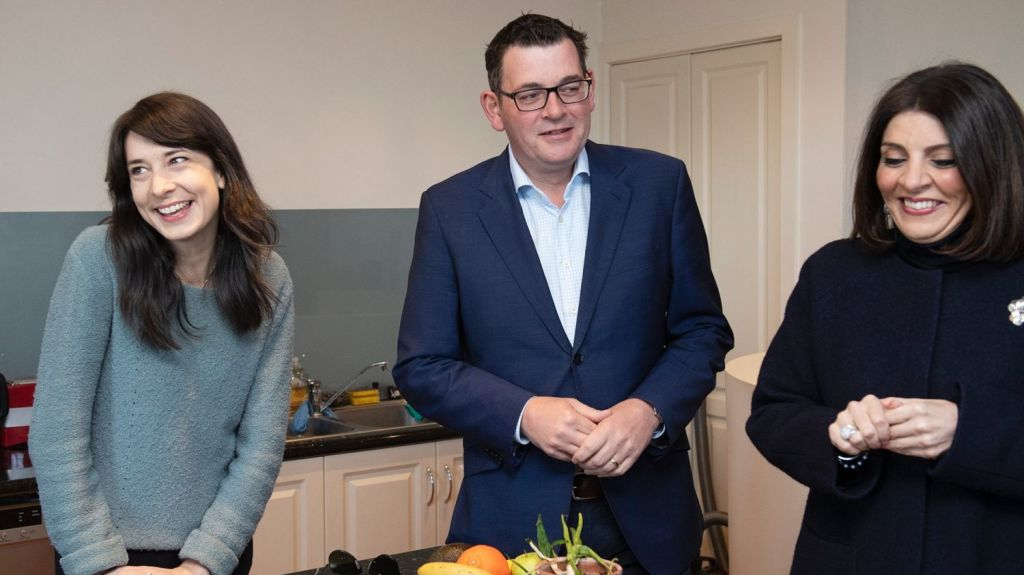 Premier Daniel Andrews and consumer affairs minister Marlene Kairouz, right, had a big win in parliament on Thursday night. Photo: Ellen Smith