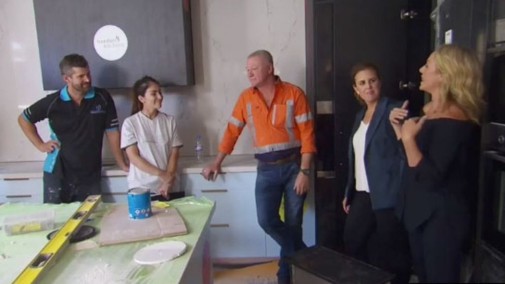 Sara and Hayden took a risk and moved the orientation of their kitchen and I think it works. Photo: Channel Nine