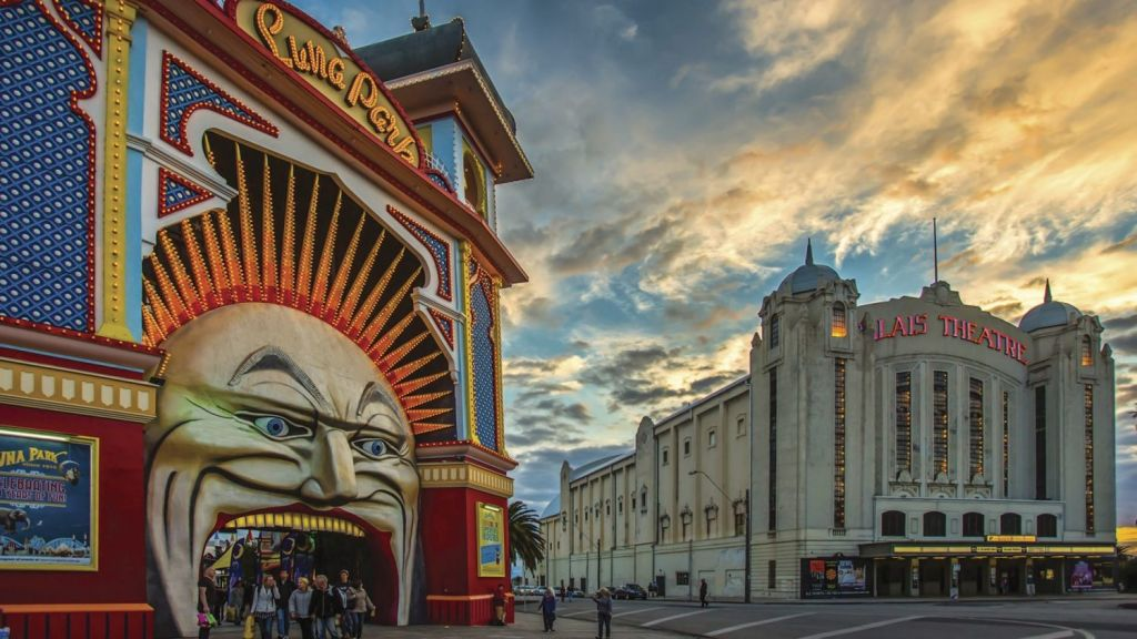 Suburb icons: the smiling backdrop of Luna Park and the towering Palais Theatre. Photo: Craig Sillitoe