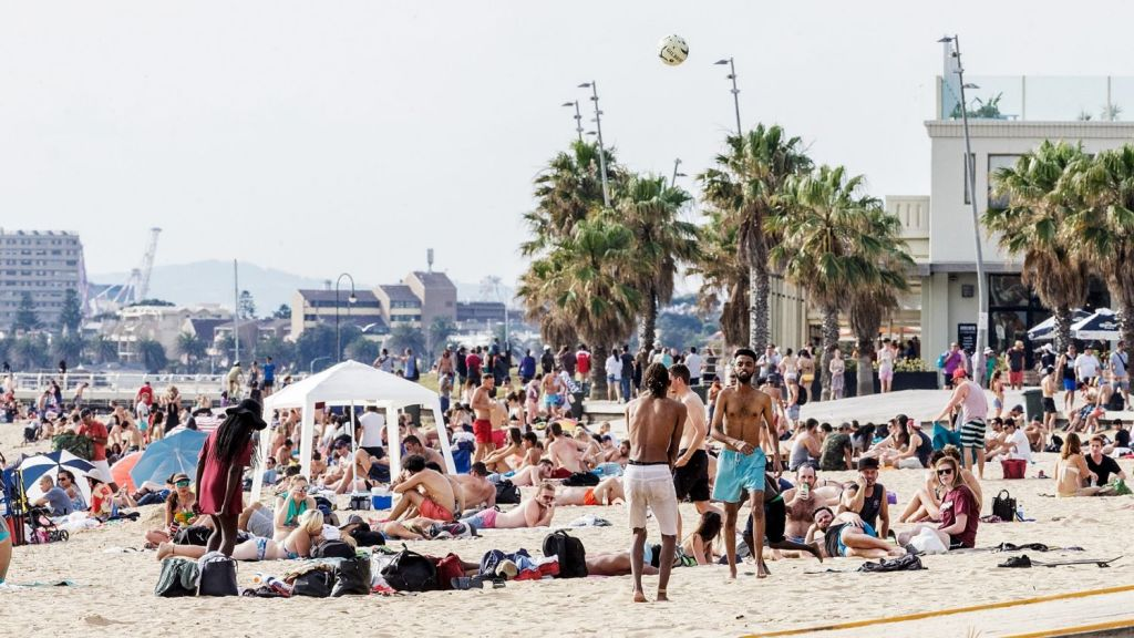 There's nothing like enjoying a hot summer's day at St Kilda beach. Photo: Fairfax Media