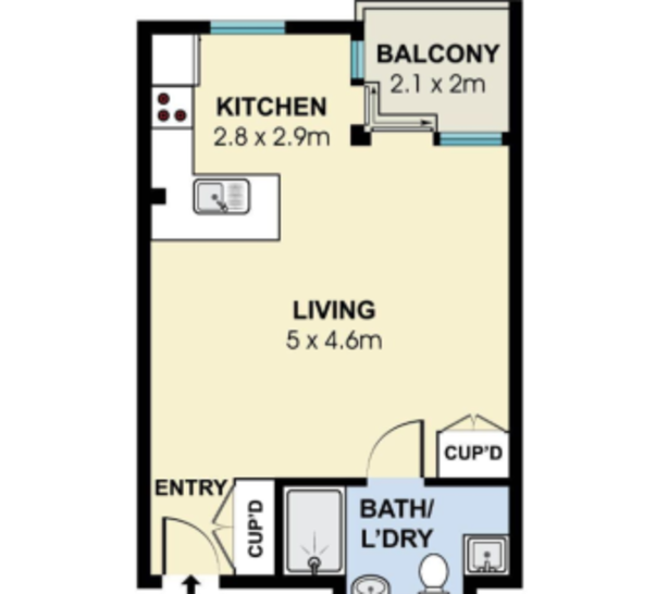 A typical studio apartment floor plan.