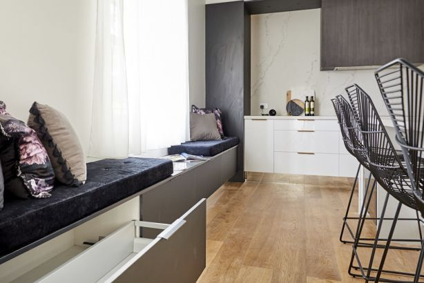 The layout of the dining and living areas made more sense to the judges after seeing the kitchen. Photo: Channel Nine