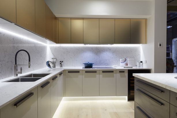 The champagne and matte finish cabinets were a hit. Photo: Channel Nine