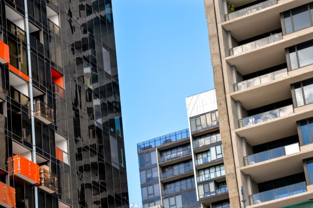 Melbourne's changing skyline around the corner of Lonsdale and LaTrobe streets. Apartments are going up everywhere amid concerns of a property bubble. Photo: Penny Stephens. The Age. 23RD JUNE 2015