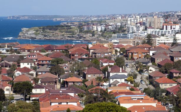 The Sydney suburb of Bondi with it's famous red roofed houses.