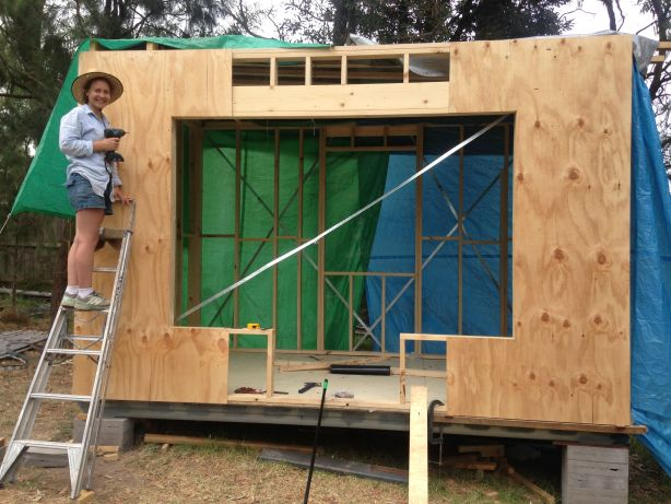 Clarke has become a pro with a nail gun and drop saw.