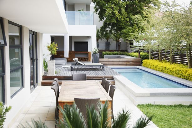 Modern courtyard with pool