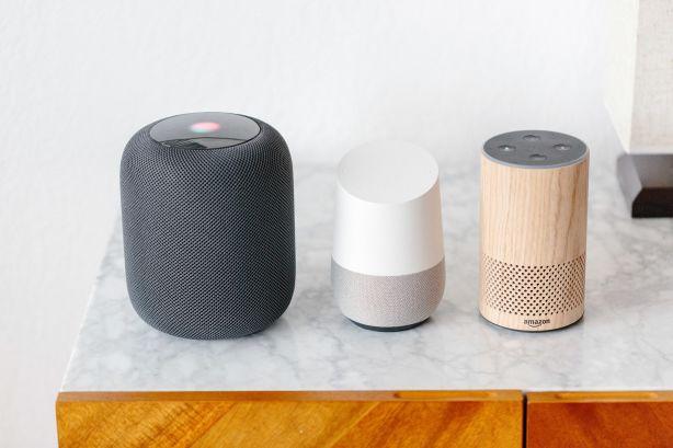 Apple HomePod, Google Home and Amazon Alexa. Photo: Jason Henry.