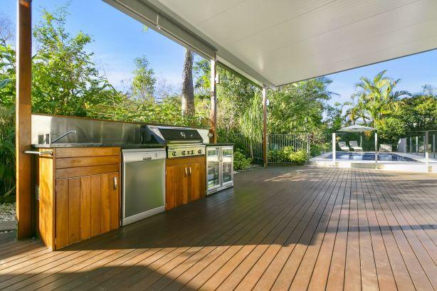 An outdoor kitchen makes summer entertaining more convenient.