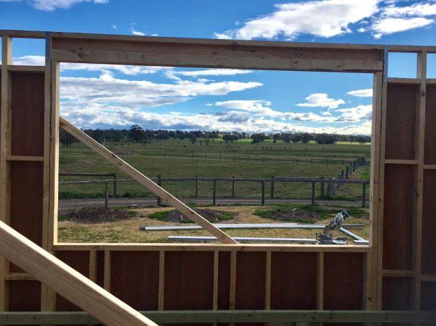 The amazing views of farmland surrounding artist Ken Roberts' Church turned home studio. Photo: Supplied.