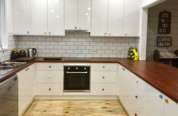 The finished kitchen at Artist Ken Roberts' Church turned home studio. Photo: Supplied.