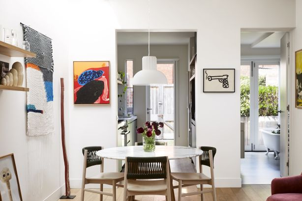 The couple love layering their home with art and texture. Photography / Caitlin Mills Styling / Annie Portelli