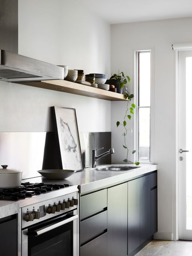The sleek, sophisticated kitchen. Photography / Caitlin Mills Styling / Annie Portelli