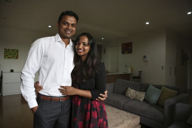 Roshit Ravindran and Deepthi Vinod are hoping to buy a house in Sydney's north west, where the median house price has dropped $165,000.