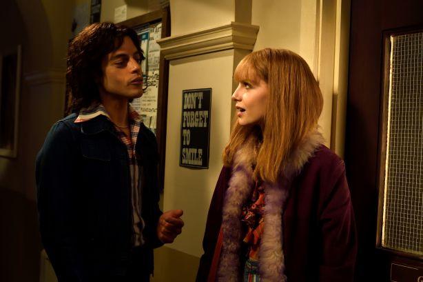 Lucy Boyton and Rami Malek in Bohemian Rhapsody. Photo: Alex Bailey