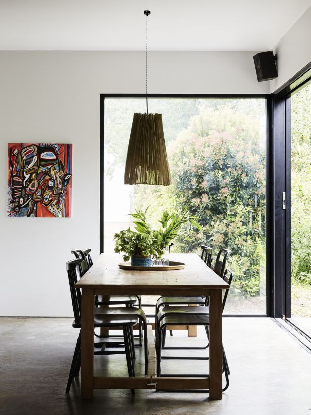 The dining space in the new 'barn' extension. The Design Files. Photo: Caitlin Mills Styling: Annie Portelli.