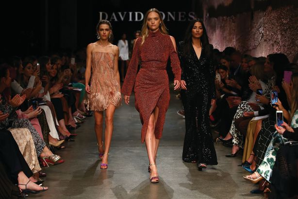 (L-R) Victoria Lee, Gemma Ward and Jessica Gomes pose on the runway during the David Jones AW19 Season Launch 'The Art of Living' at The Museum of Old and New Art. Photo: Mark Nolan/Getty Images for David Jones
