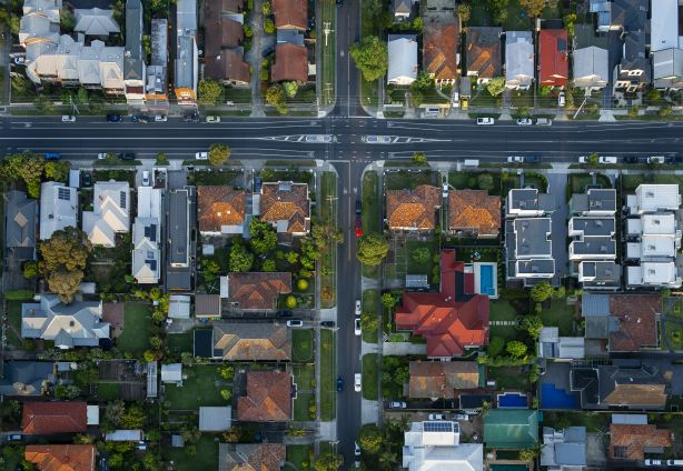 aerial view of the suburbs in Melbourne, Australia