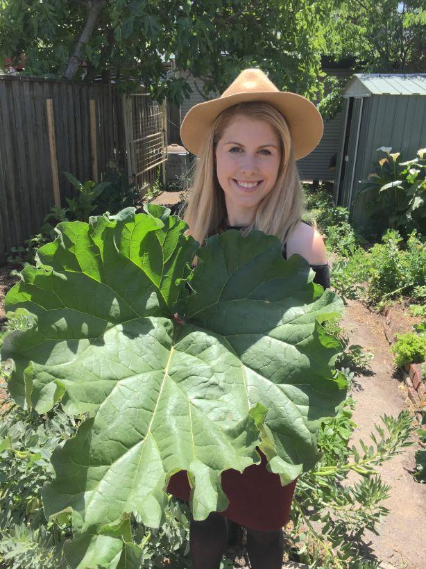 Morgan_Koegel_and_her_giant_rhubarb_harvest_Northcote_k5ax6e