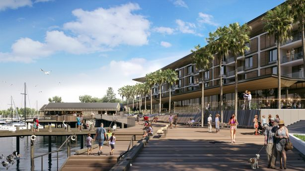 Future marina boardwalk and tavern at Shell Cove