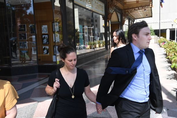Elizabeth and Adam Cranston leaving the Sydney Downing Centre for the Plutus tax fraud case this morning. Photo by Peter Braig. 30 January 2018.