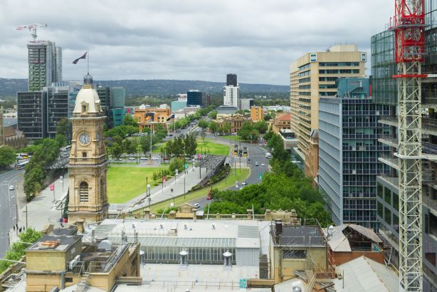 Adelaide, AUSTRALIA - Nov 21, 2018: Victoria Square historical centre of South Australian Capital city with old iconic building and new construction sites high view urban cityscape of Central Business District