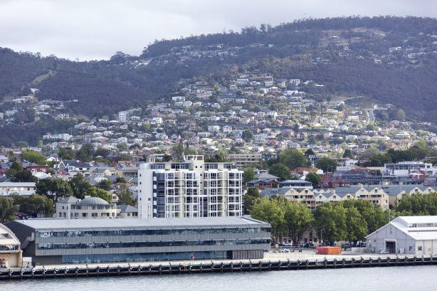 The view Hobart town waterfront and residential district in a background (Tasmania).
