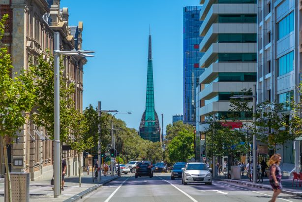 Swan Bells tower located on Riverside Drive overlooking the picturesque Swan River was designed by the local architects Hames Sharley