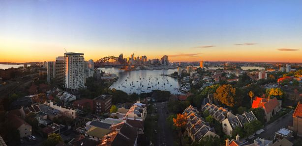 An aerial view of Lavender Bay in Sydney