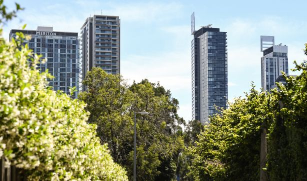 Apartment buildings towering over Chatswood