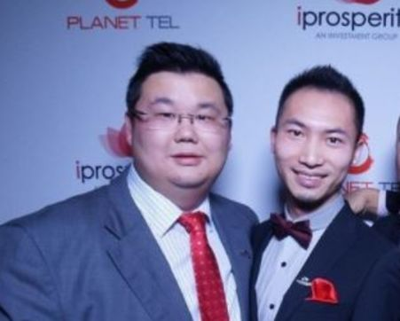 iProsperity founders Michael Gu and Harry Huang, who fled the country owing creditors $350 million Gary Sue Fong and Peter Thornton (who appears in those visa promotional events). supplied image