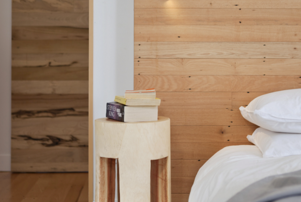 Designer Peta Davy from Yellowfox used flooring timbers to make this bedhead in her own house.
