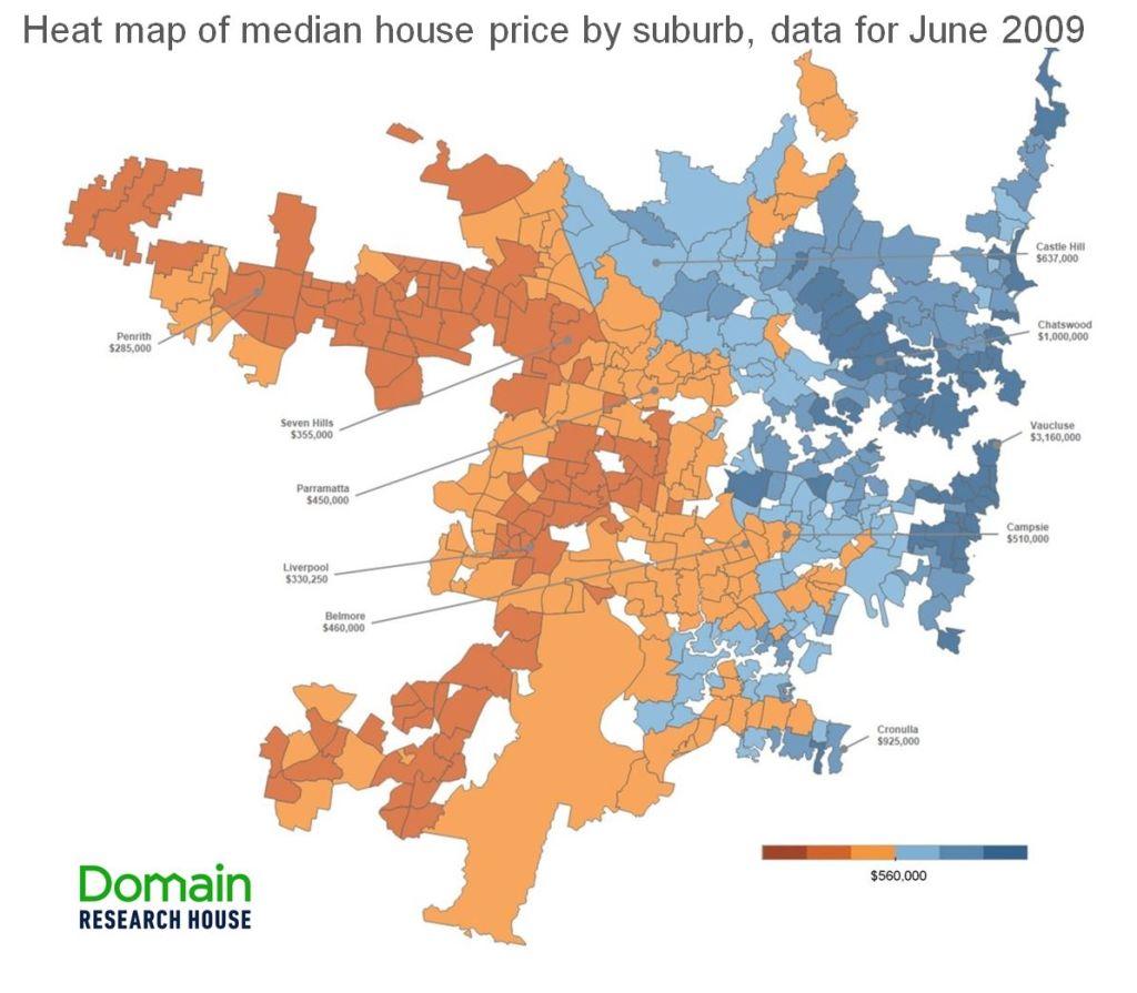Map 3 - Sydney median price map - June 2009
