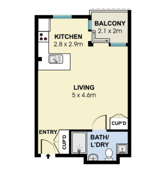 A typical studio apartment floor plan.