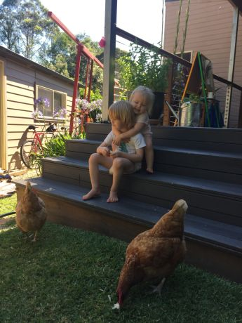 Rosie Chase and James Grieve's kids Charlie and Ella love interacting with their backyard chooks.