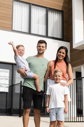 Scott and Melanie McCarthy sold their Melbourne home at auction two days before Christmas and moved to Brisbane five days later. Seen here in Brisbane. The Melbourne property market has been unusually busy this summer.