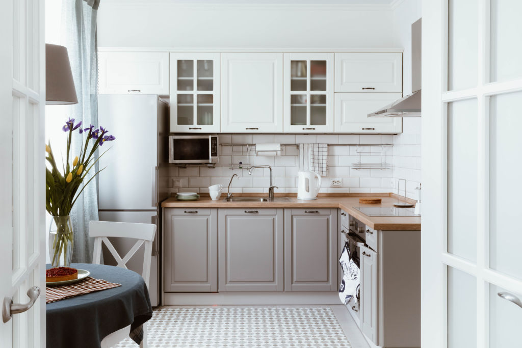 Tidy and uncluttered kitchen.