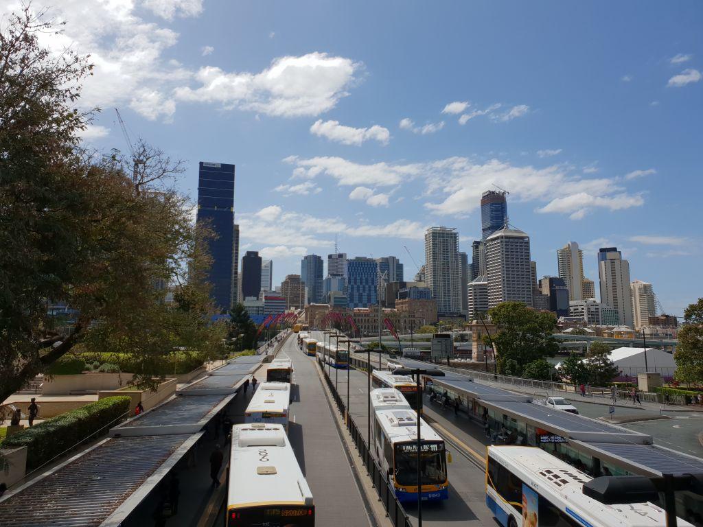 Brisbane - view across Victoria Bridge into city